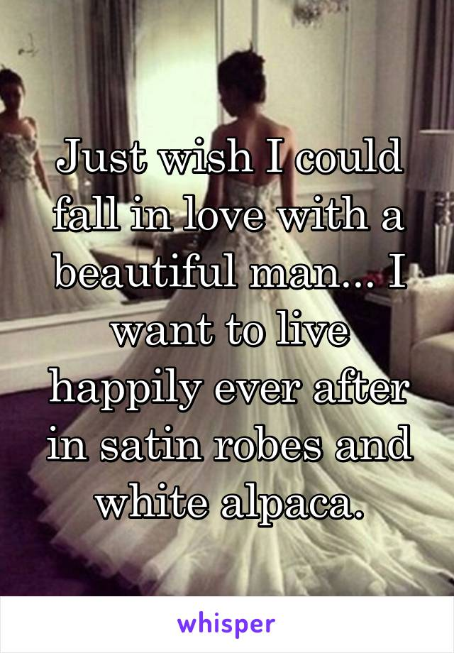 Just wish I could fall in love with a beautiful man... I want to live happily ever after in satin robes and white alpaca.