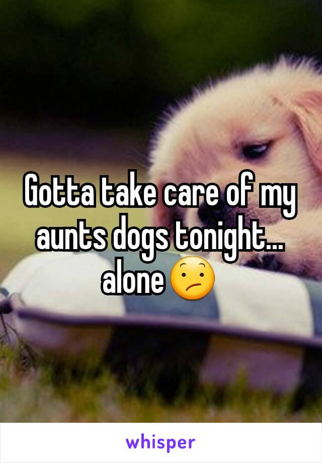 Gotta take care of my aunts dogs tonight... alone😕