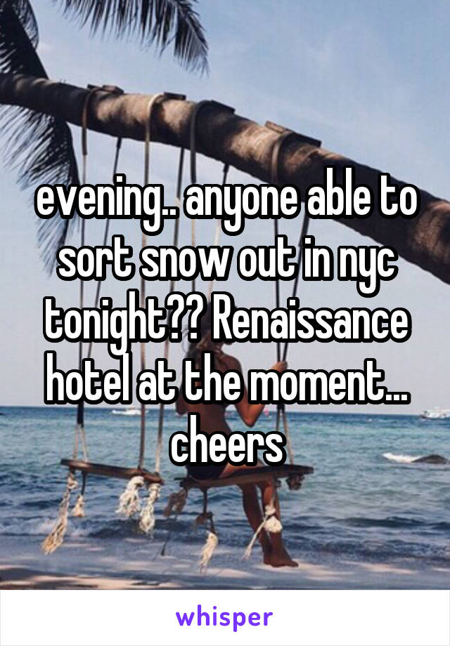 evening.. anyone able to sort snow out in nyc tonight?? Renaissance hotel at the moment... cheers