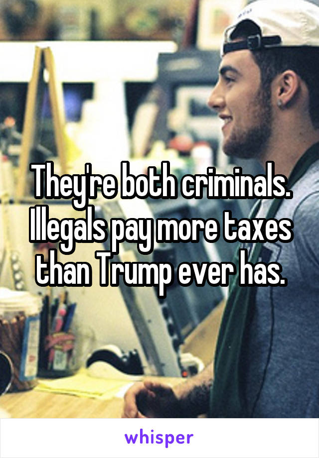 They're both criminals. Illegals pay more taxes than Trump ever has.