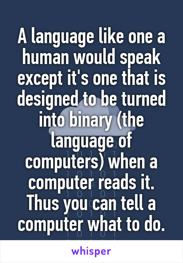 A language like one a human would speak except it's one that is designed to be turned into binary (the language of computers) when a computer reads it. Thus you can tell a computer what to do.
