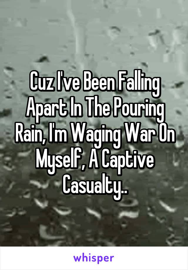 Cuz I've Been Falling Apart In The Pouring Rain, I'm Waging War On Myself, A Captive Casualty..