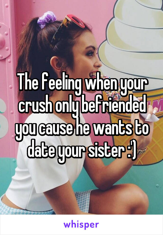 The feeling when your crush only befriended you cause he wants to date your sister :')