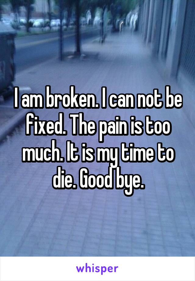 I am broken. I can not be fixed. The pain is too much. It is my time to die. Good bye.