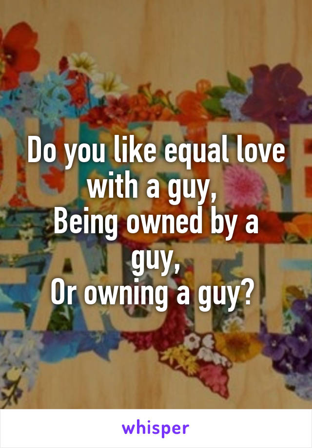 Do you like equal love with a guy,  Being owned by a guy, Or owning a guy?