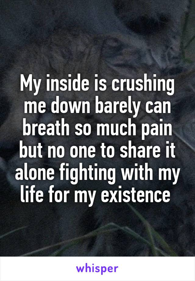 My inside is crushing me down barely can breath so much pain but no one to share it alone fighting with my life for my existence