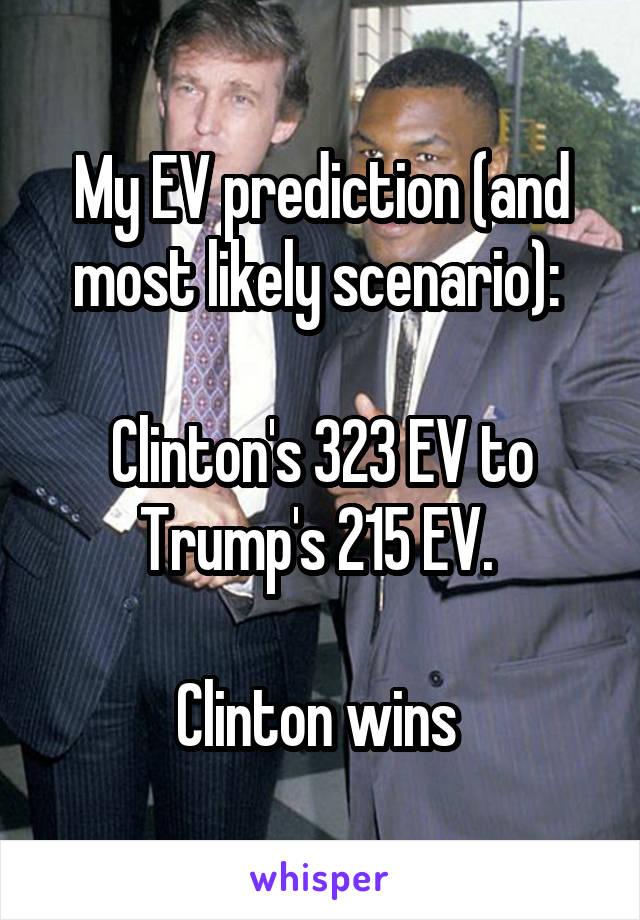 My EV prediction (and most likely scenario):   Clinton's 323 EV to Trump's 215 EV.   Clinton wins