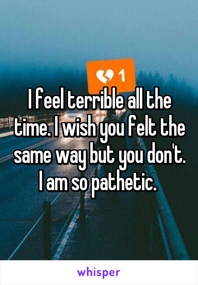 I feel terrible all the time. I wish you felt the same way but you don't. I am so pathetic.