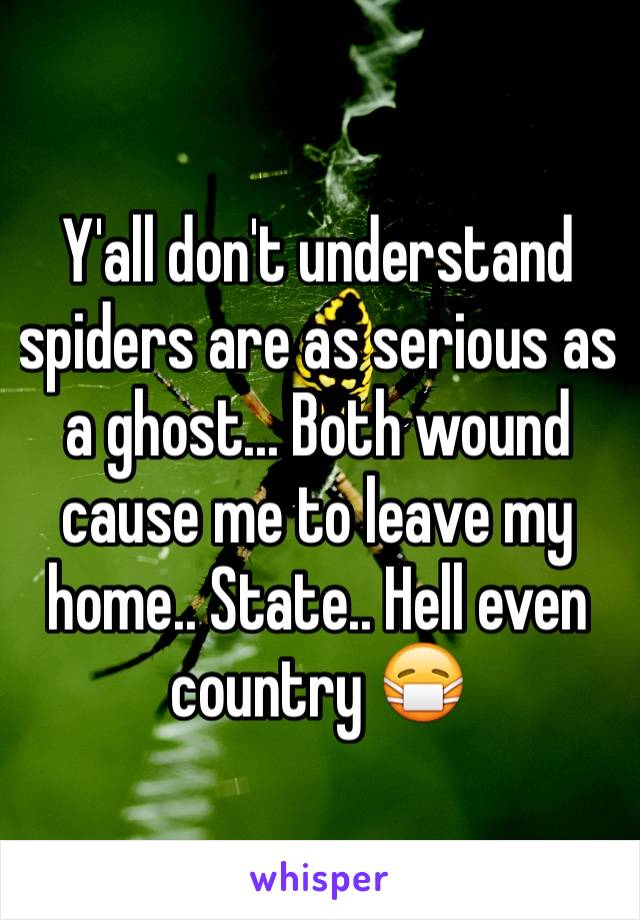 Y'all don't understand spiders are as serious as a ghost... Both wound cause me to leave my home.. State.. Hell even country 😷