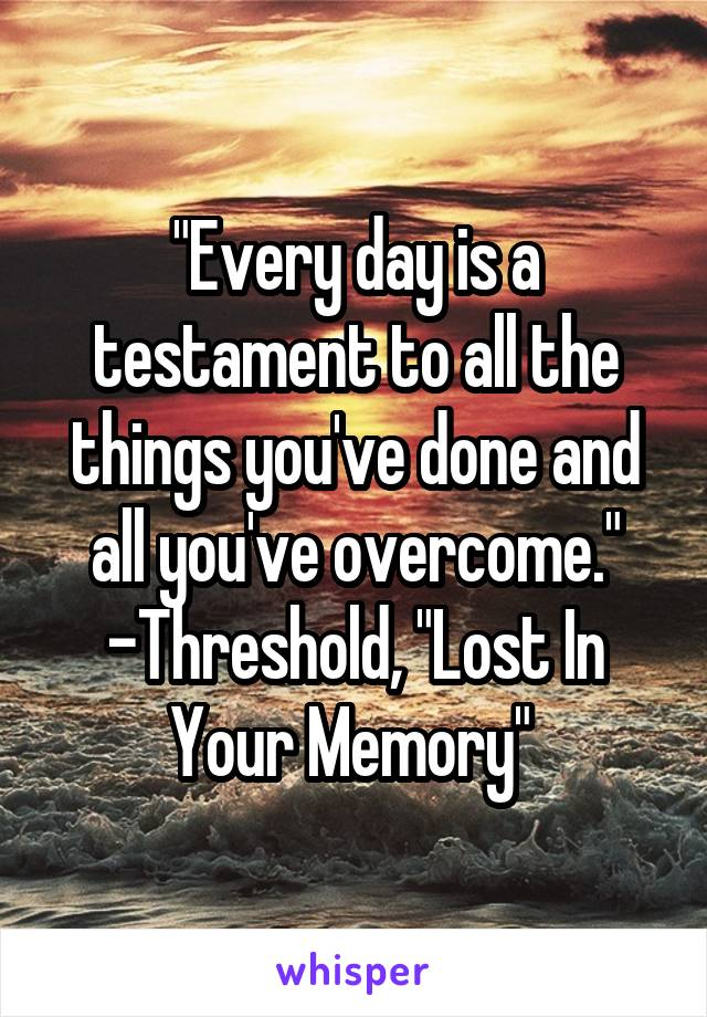 """""""Every day is a testament to all the things you've done and all you've overcome."""" -Threshold, """"Lost In Your Memory"""""""