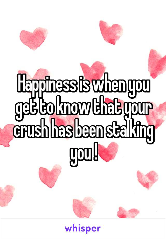 Happiness is when you get to know that your crush has been stalking you !