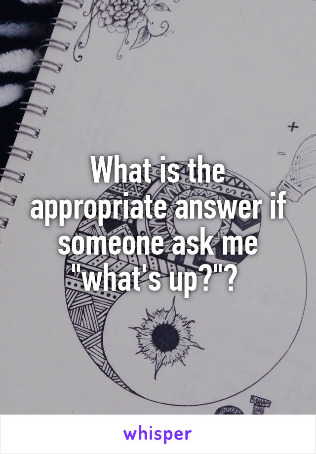 "What is the appropriate answer if someone ask me ""what's up?""?"