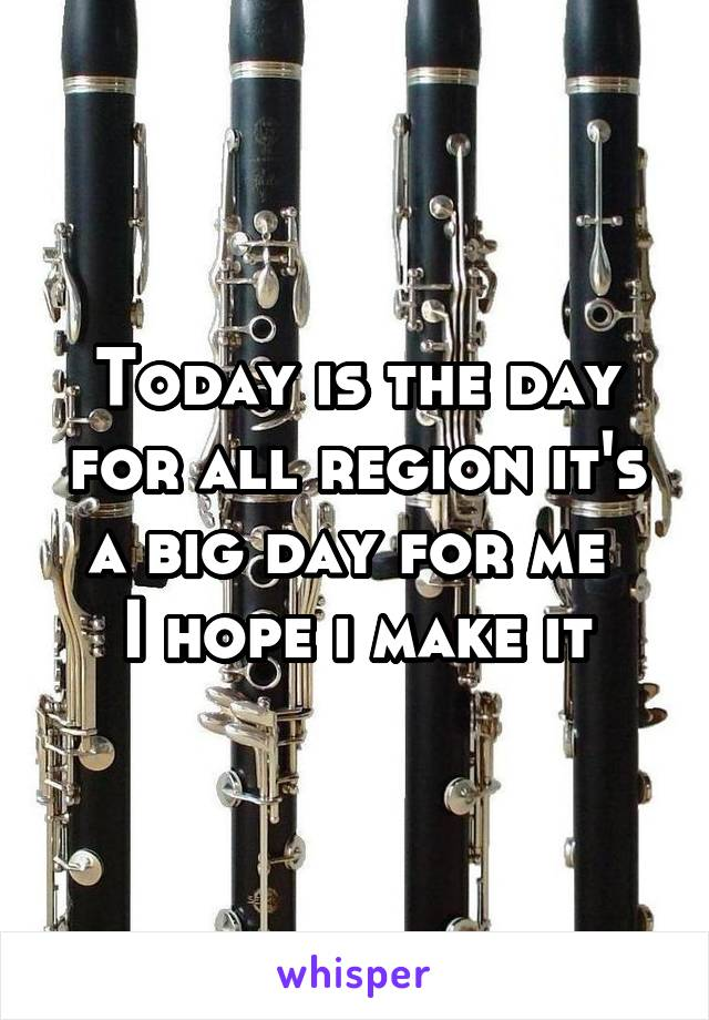 Today is the day for all region it's a big day for me  I hope i make it