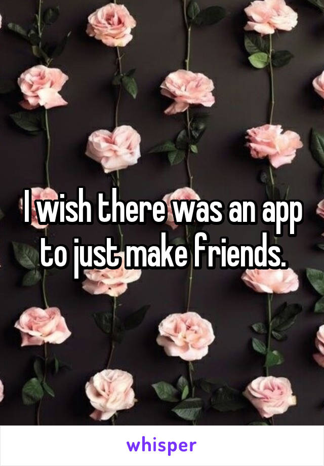 I wish there was an app to just make friends.
