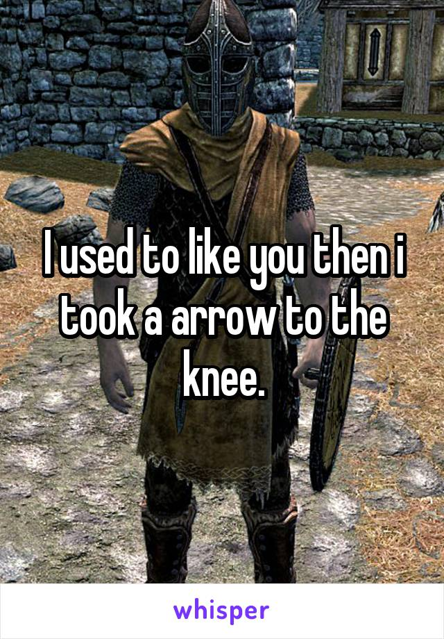 I used to like you then i took a arrow to the knee.