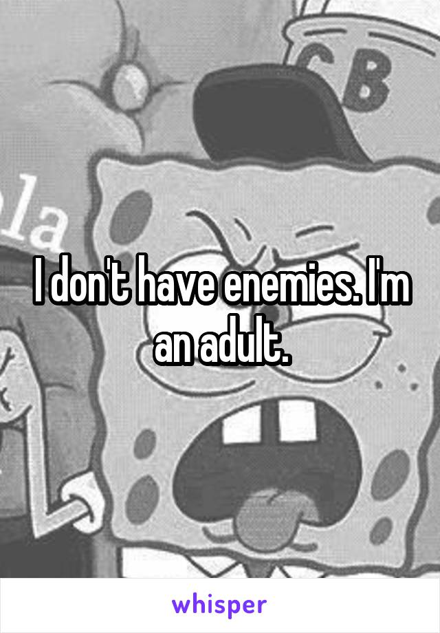 I don't have enemies. I'm an adult.
