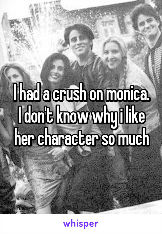I had a crush on monica. I don't know why i like her character so much
