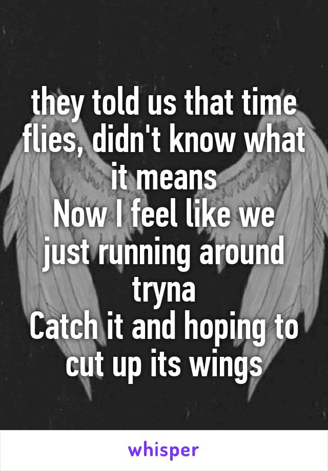they told us that time flies, didn't know what it means Now I feel like we just running around tryna Catch it and hoping to cut up its wings