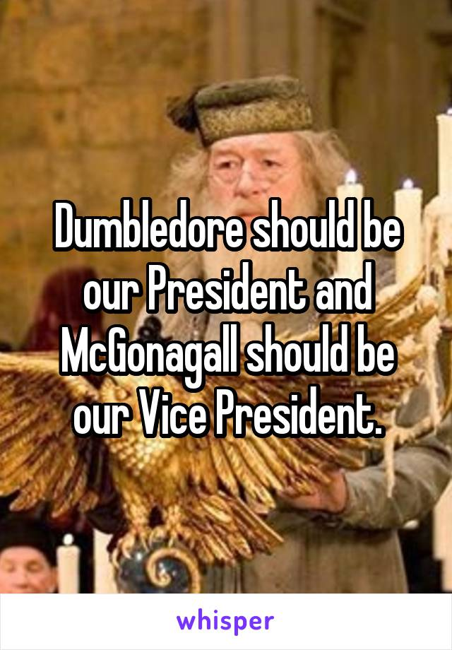 Dumbledore should be our President and McGonagall should be our Vice President.