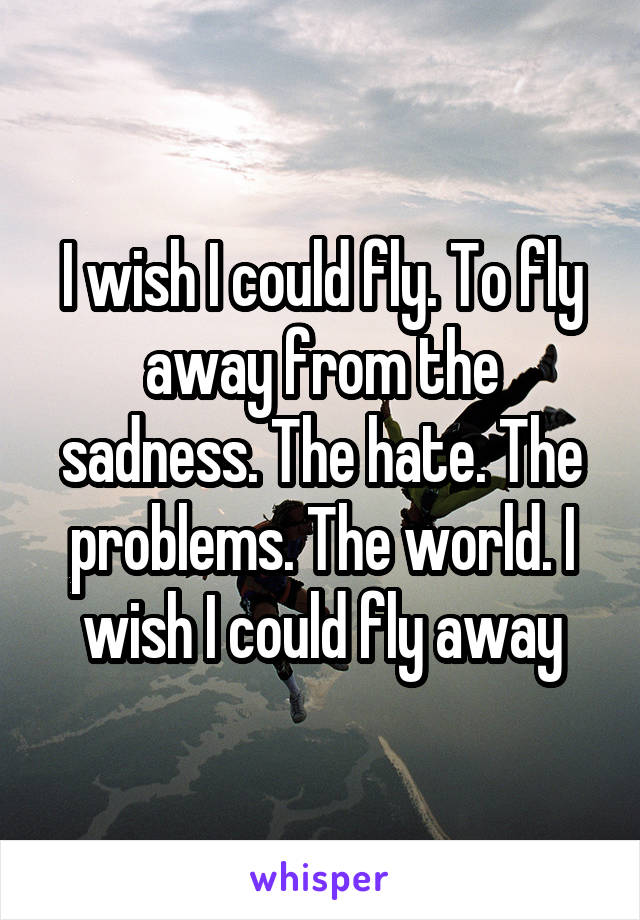 I wish I could fly. To fly away from the sadness. The hate. The problems. The world. I wish I could fly away