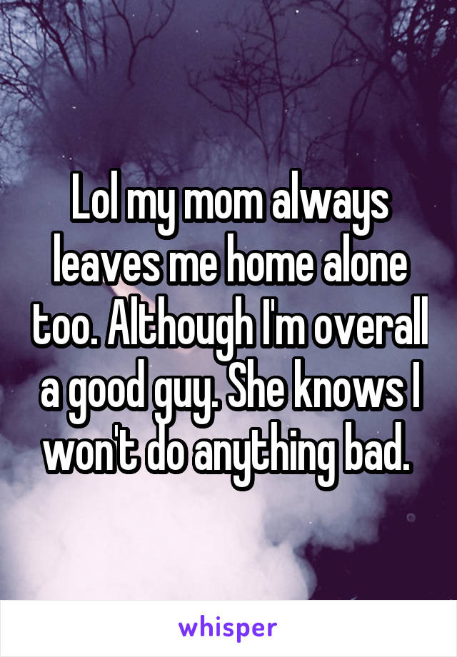 Lol my mom always leaves me home alone too. Although I'm overall a good guy. She knows I won't do anything bad.