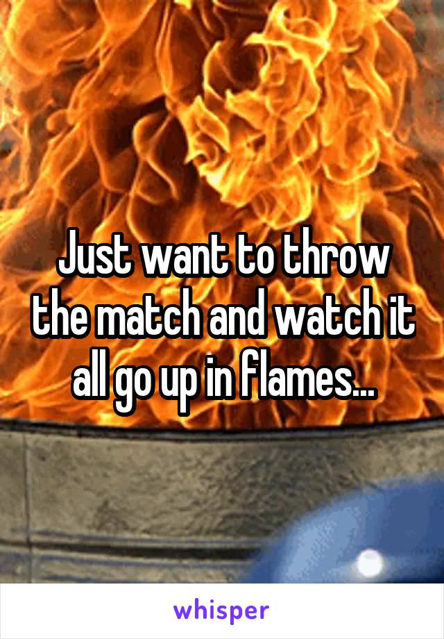 Just want to throw the match and watch it all go up in flames...