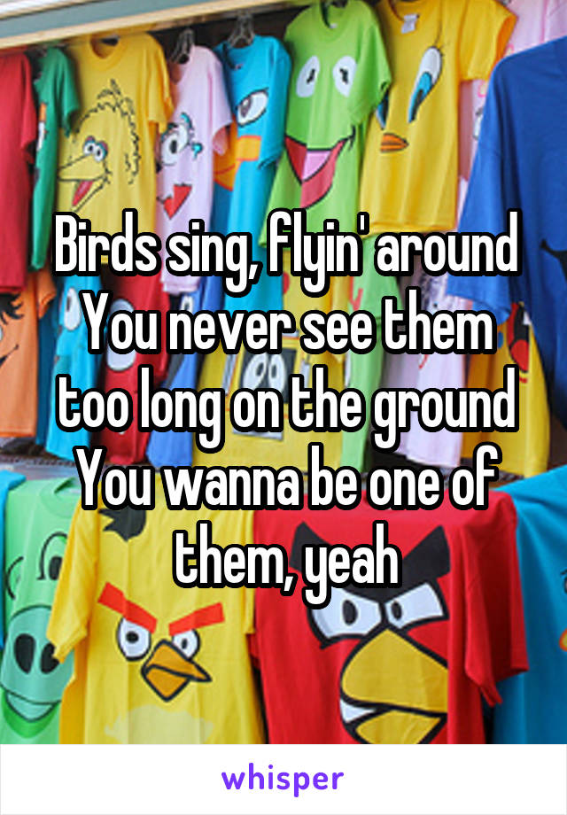 Birds sing, flyin' around You never see them too long on the ground You wanna be one of them, yeah