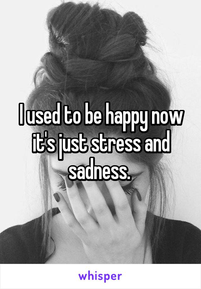 I used to be happy now it's just stress and sadness.