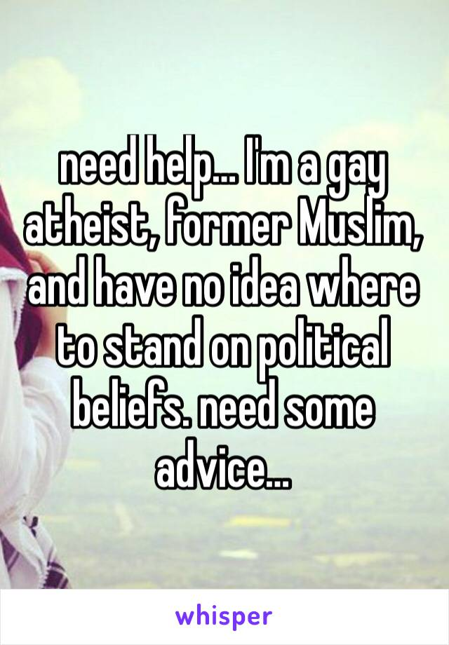need help… I'm a gay atheist, former Muslim, and have no idea where to stand on political beliefs. need some advice…