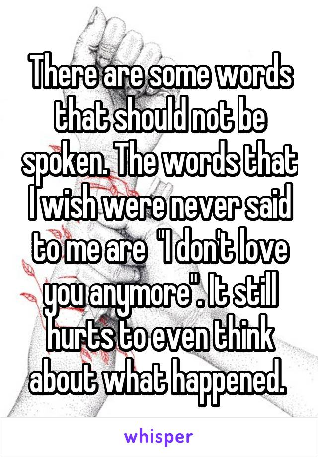 "There are some words that should not be spoken. The words that I wish were never said to me are  ""I don't love you anymore"". It still hurts to even think about what happened."