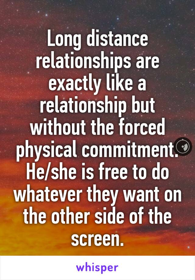 Long distance relationships are exactly like a relationship but without the forced physical commitment. He/she is free to do whatever they want on the other side of the screen.