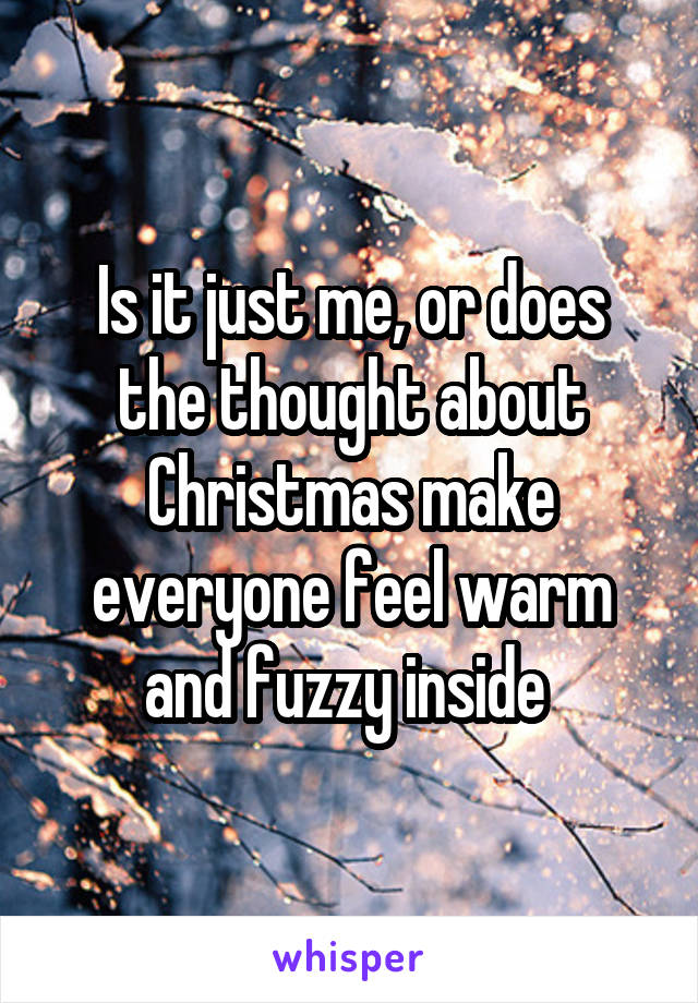 Is it just me, or does the thought about Christmas make everyone feel warm and fuzzy inside