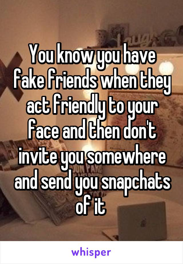 You know you have fake friends when they act friendly to your face and then don't invite you somewhere and send you snapchats of it