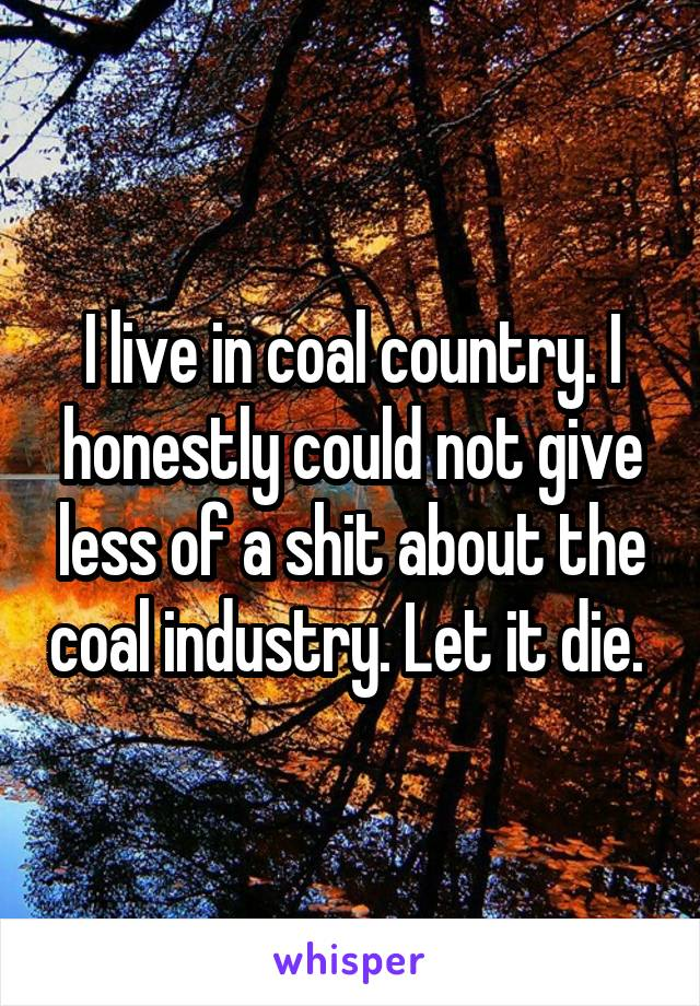 I live in coal country. I honestly could not give less of a shit about the coal industry. Let it die.