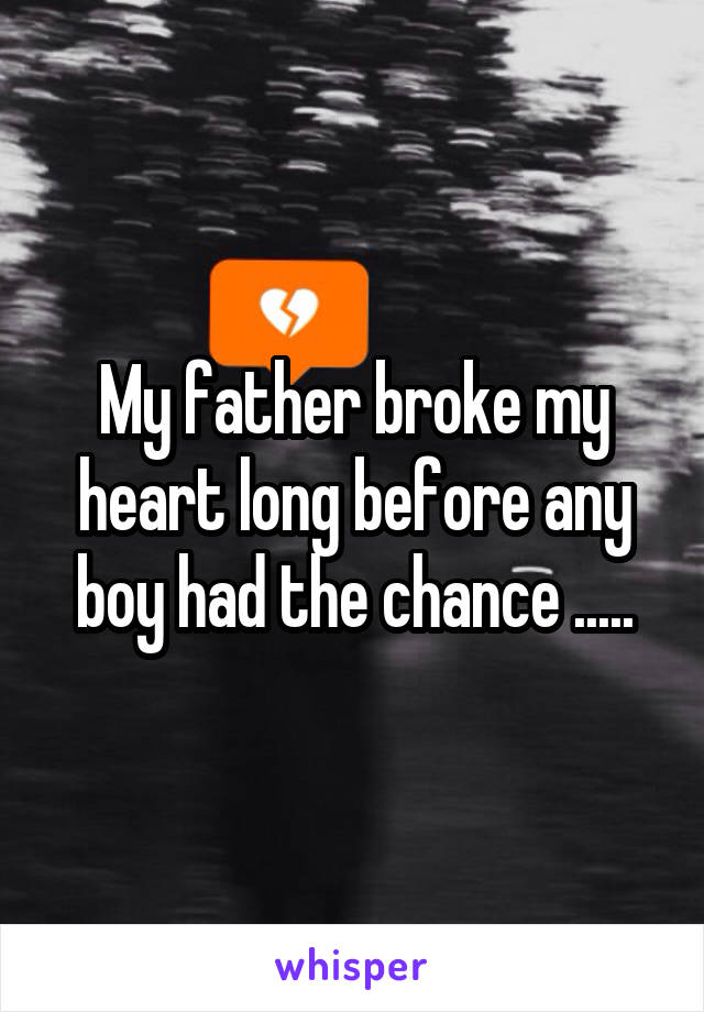 My father broke my heart long before any boy had the chance .....