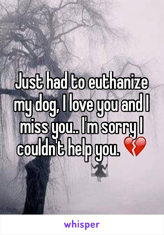 Just had to euthanize my dog, I love you and I miss you.. I'm sorry I couldn't help you. 💔