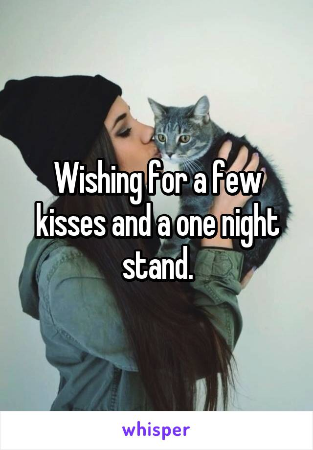 Wishing for a few kisses and a one night stand.