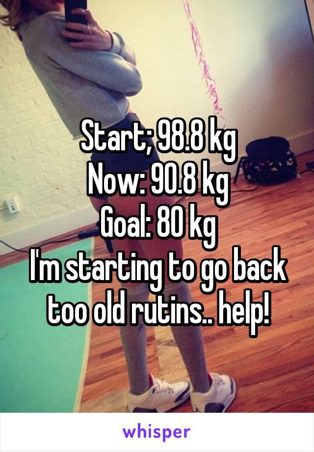 Start; 98.8 kg Now: 90.8 kg Goal: 80 kg I'm starting to go back too old rutins.. help!