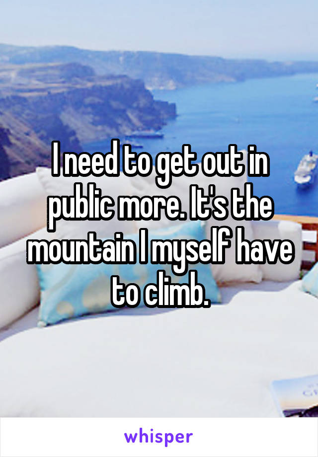 I need to get out in public more. It's the mountain I myself have to climb.