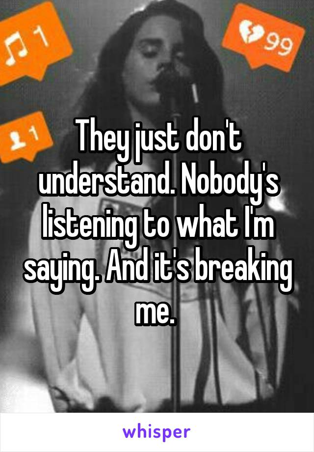 They just don't understand. Nobody's listening to what I'm saying. And it's breaking me.