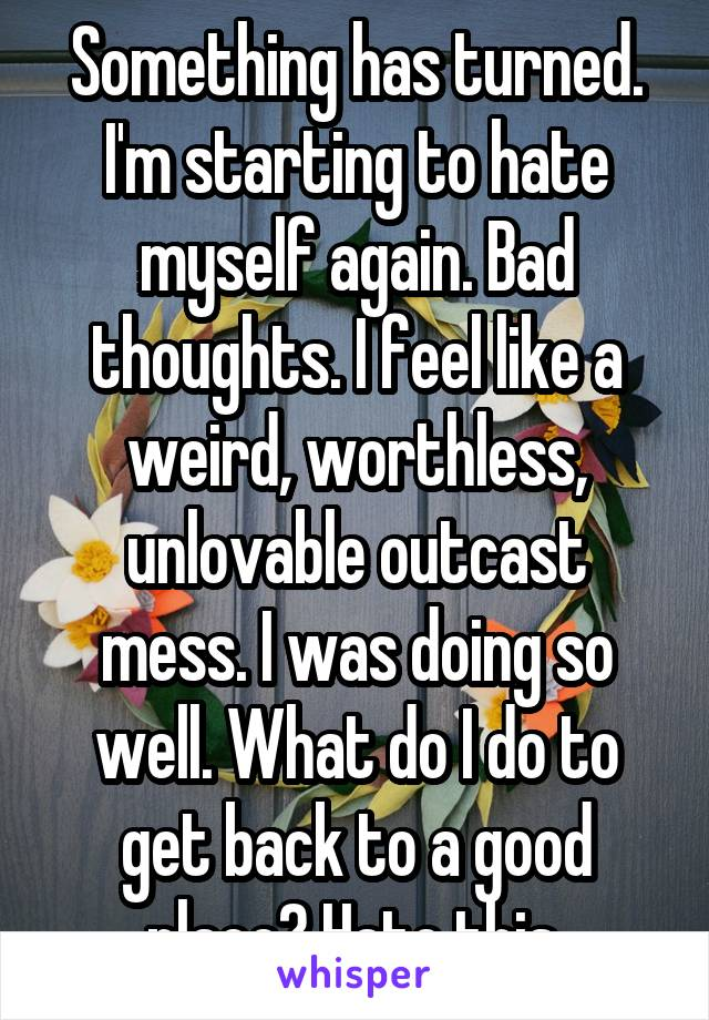 Something has turned. I'm starting to hate myself again. Bad thoughts. I feel like a weird, worthless, unlovable outcast mess. I was doing so well. What do I do to get back to a good place? Hate this.