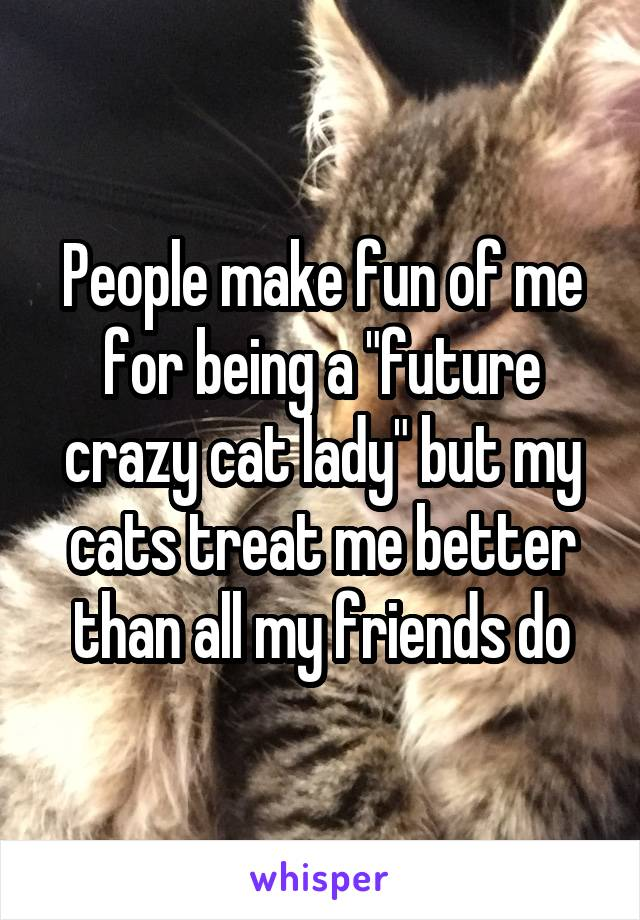"""People make fun of me for being a """"future crazy cat lady"""" but my cats treat me better than all my friends do"""