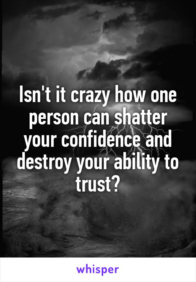 Isn't it crazy how one person can shatter your confidence and destroy your ability to trust?