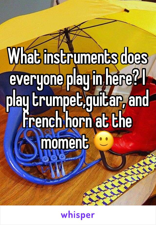 What instruments does everyone play in here? I play trumpet,guitar, and french horn at the moment 🙂