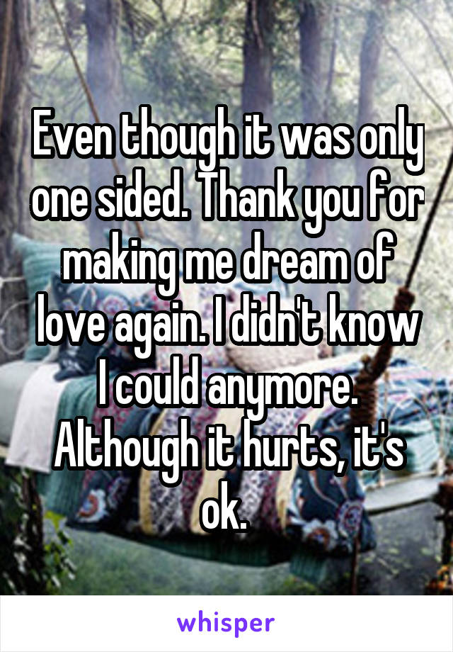 Even though it was only one sided. Thank you for making me dream of love again. I didn't know I could anymore. Although it hurts, it's ok.