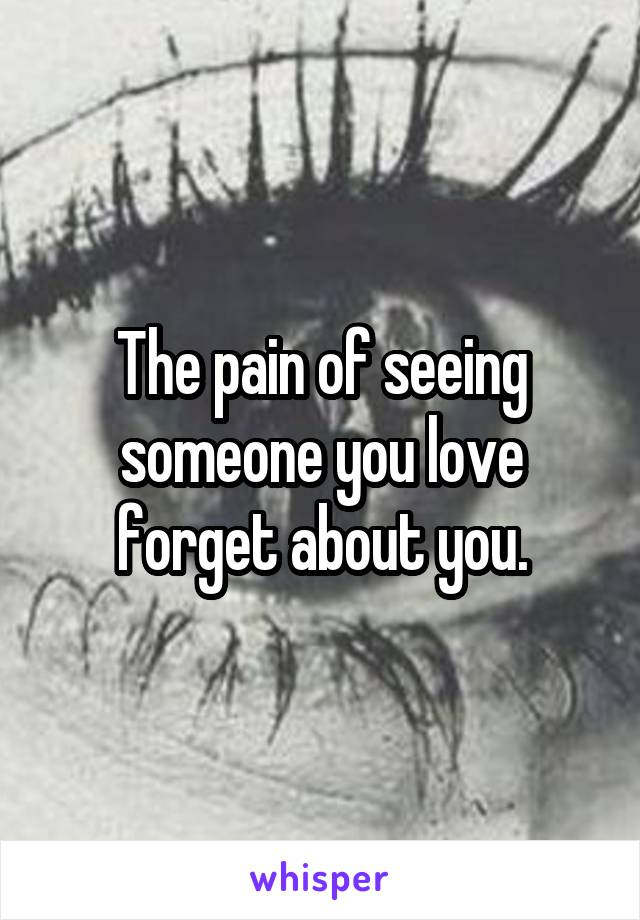 The pain of seeing someone you love forget about you.