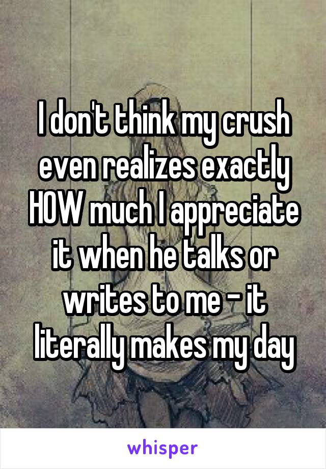 I don't think my crush even realizes exactly HOW much I appreciate it when he talks or writes to me - it literally makes my day
