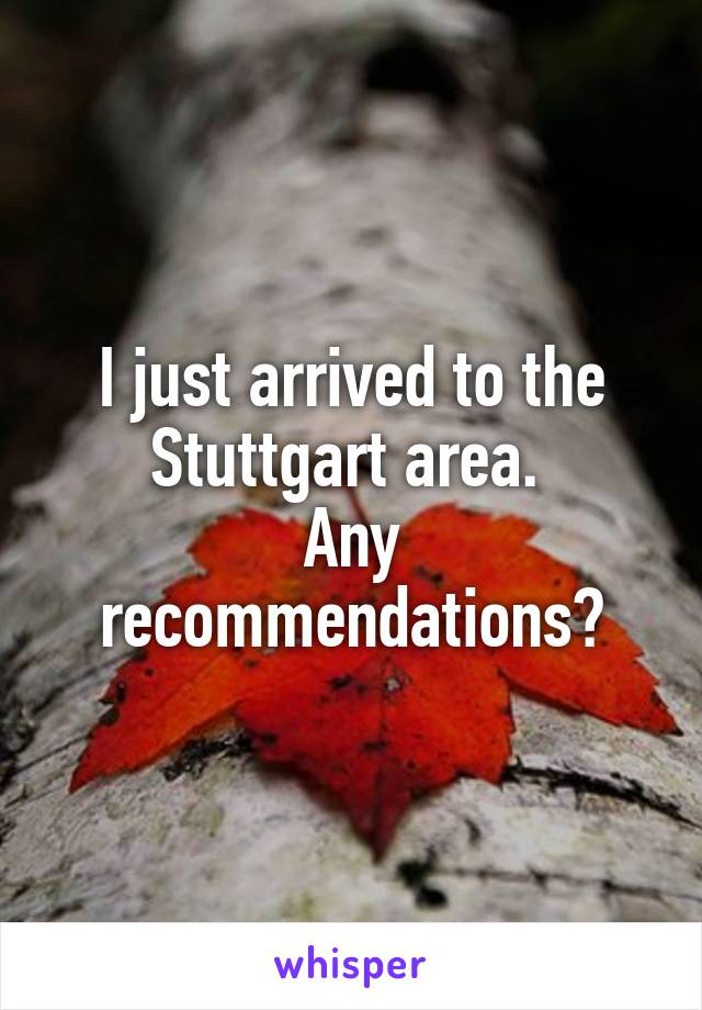 I just arrived to the Stuttgart area.  Any recommendations?