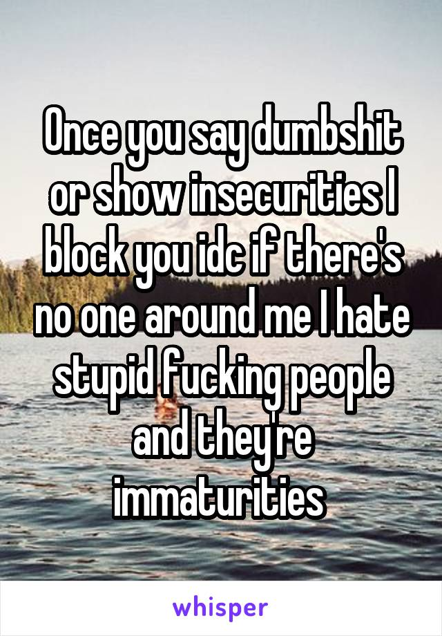 Once you say dumbshit or show insecurities I block you idc if there's no one around me I hate stupid fucking people and they're immaturities