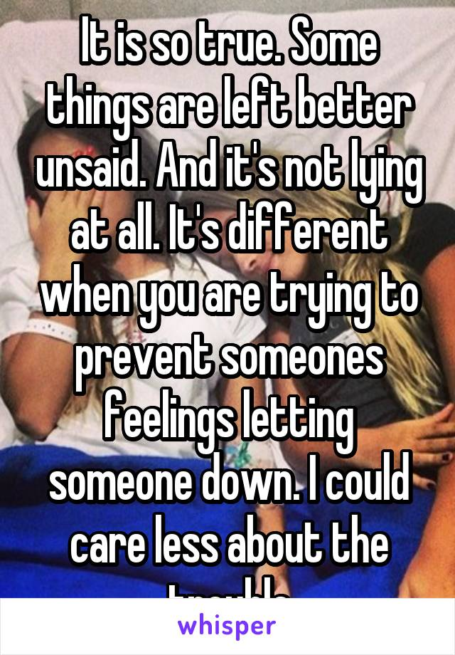 It is so true. Some things are left better unsaid. And it's not lying at all. It's different when you are trying to prevent someones feelings letting someone down. I could care less about the trouble